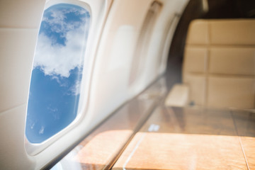 Private jet plane interior with leather seats