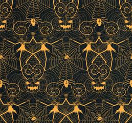 Halloween nightmare lace seamless pattern design with dancing skull skeletons, pumpkins, spirals and black widow spiders