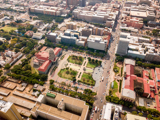 Wall Mural - Aerial view of Tshwane city hall and Museum of Natural History iin the heart of Pretoria, South Africa