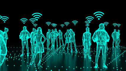 Human Hologram of people connected, social networks