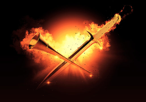 Medieval Sword and Trumpet Fire Action Background