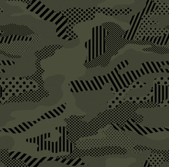 Fototapeta Optic camouflage pattern repeat in army green