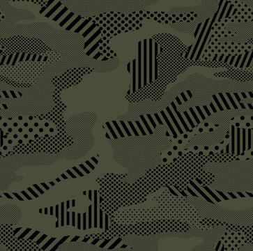 Optic camouflage pattern repeat in army green