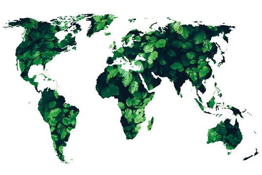 green world map - green renewable sustainable economy