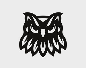 Fotobehang Uilen cartoon Owl logo. Night bird emblem design editable for your business. Vector illustration.