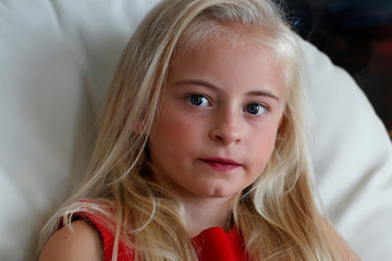 Model Daisy-May Demetre, 9 year-old double amputee who will walk the runway during Paris Fashion Week, poses for a photograph a day before the luxury children's wear label Lulu et Gigi show in Paris