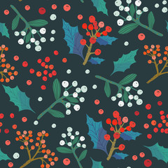 Christmas and happy new year seamless pattern with mistletoe and floral elements that can be used for packaging designs, wrapping paper, wallpaper, fabric, texture and textile prints.