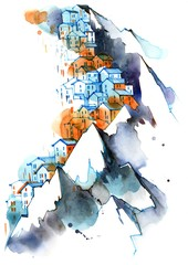 Foto auf Leinwand Gemälde mountain settlement
