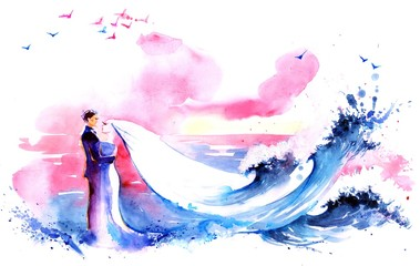 Photo sur Aluminium Peintures newlyweds