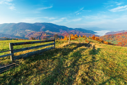 rural area in mountain at sunrise. wonderful golden autumn weather with high clouds on the blue sky. wooden fence along the path through grassy meadow in to the distant valley full of morning fog. nat