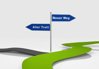 Entscheidung zwischen neuen Weg und alten Trott. 3d rendering