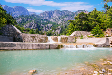 Beautiful waterfall in Gorge Kesme Bogaz, Kemer, Turkey