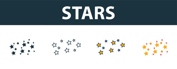 Stars icon set. Four simple symbols in diferent styles from space icons collection. Creative stars icons filled, outline, colored and flat symbols