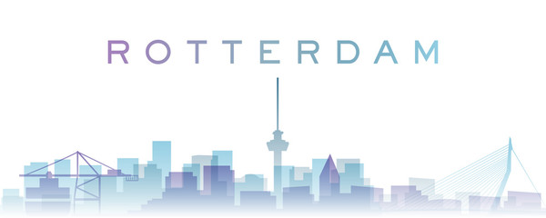 Papiers peints Rotterdam Rotterdam Transparent Layers Gradient Landmarks Skyline