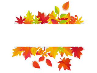 Autumn leaves background vector. Fall frame with copy space for text.