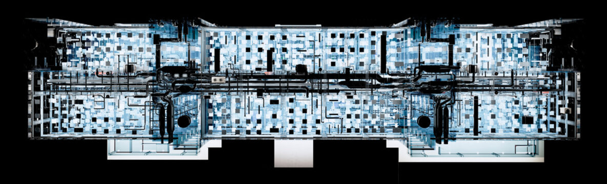 Top view at night of BIM model conceptual visualization of the utilities of the building