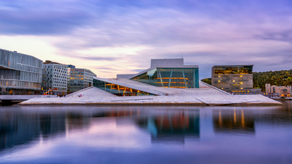 OSLO, NORWAY - 26 September 2019 : National Oslo Opera House with water reflection  in Oslo, Norway