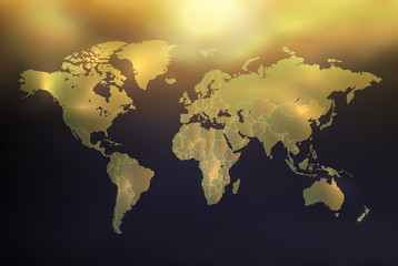World map with individual states, golden radiant on background with sky and sun, vector