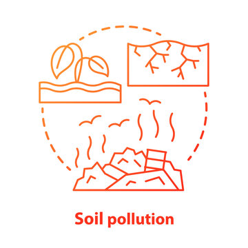 Soil pollution concept icon. Land waste contamination idea thin line illustration in red. Inefficient use of natural resources. Landfills and garbage dumps problem. Vector isolated outline drawing