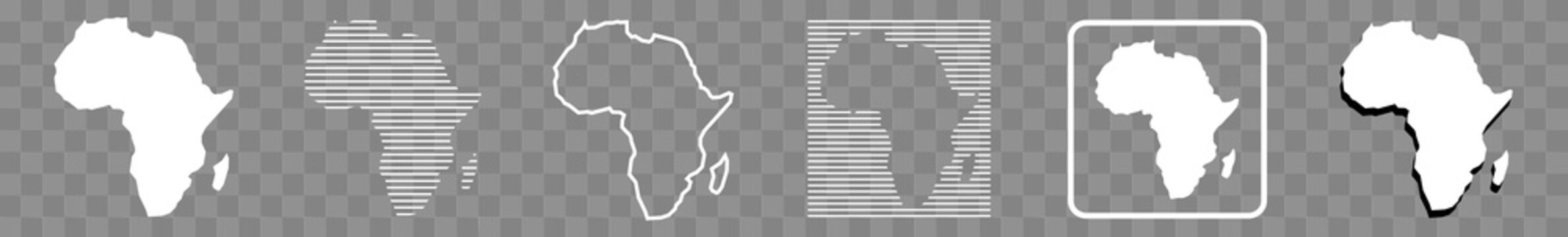 Africa Map White | African Border | Continent | Isolated Transparent | Variations