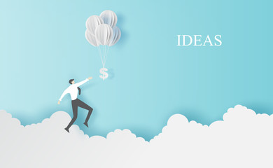 Business man Jump to hold money balloons on clouds sky landscape.Creative paper cut and craft style.People finance success concept.Graphic minimal simple idea space for your text.vector illustration