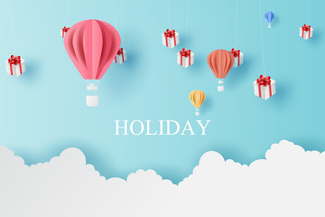 Landscape of balloons colorful fly and Mobile hanging gift box with Cloud on blue sky.Holiday and festival season concept.Creative paper cut and craft style scene for your text.vector illustration.