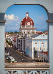 Framed view of Town Hall and Museo Provincial in Cienfuegos, Cuba