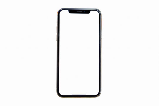 Smartphone frameless mockup. Studio shot of Smartphone iPhone 11 Pro Max with blank screen for Infographic Global Business web site design app, - Clipping Path