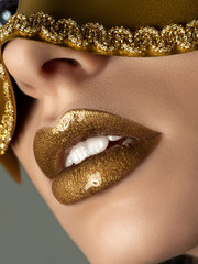 Close up view of beautiful woman lips