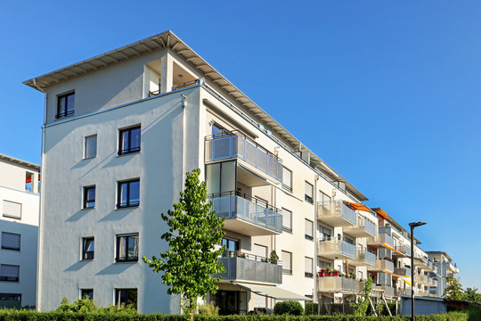 Housing estate with modern residential buildings in the city
