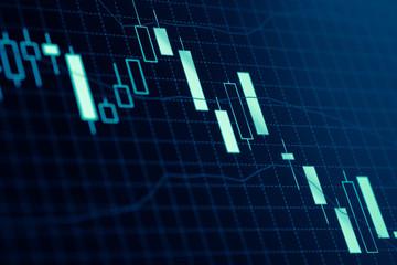 Forex market charts on computer display