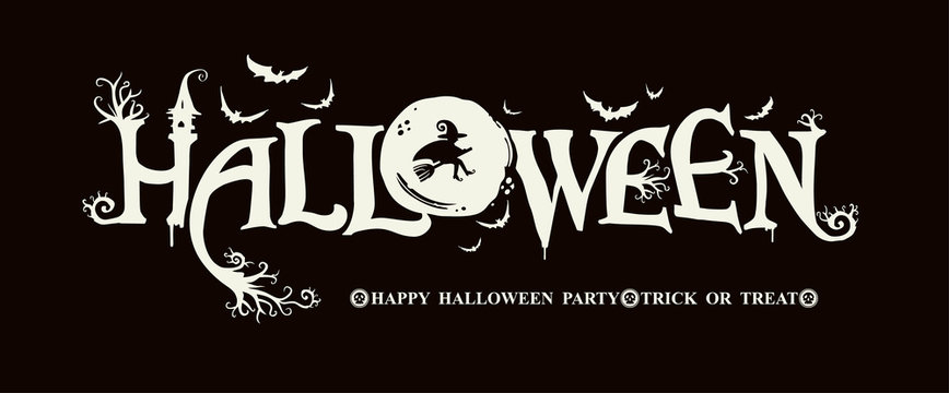 Halloween horizontal banner with vector logo on a black background. HAPPY HALLOWEEN, Trick or Treat. The inscription with ominous tree branches, bats and a pretty witch on a background of the full moo