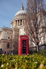 Red telephone box near St Pauls Cathedral