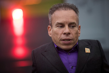 Actor Warwick Davis speaks to media at the announcement of new Star Wars products at Pinewood Studios, Iver Heath