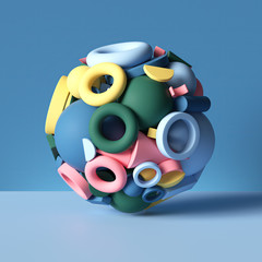 3d ball combined of mixed colorful geometric shapes isolated on blue, abstract background, stack of toys, assorted primitives