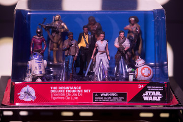 Toys from the Star Wars: The Rise of Skywalker sit on display at the announcement of new Star Wars products at Pinewood Studios, Iver Heath