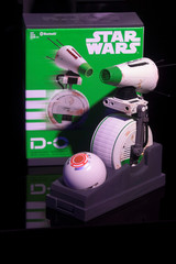 The D-O Interactive Droid by Hasbro sits on display at the announcement of new Star Wars products at Pinewood Studios, Iver Heath