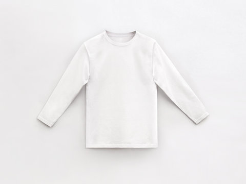 white long sleeve t-shirt for man with round collar