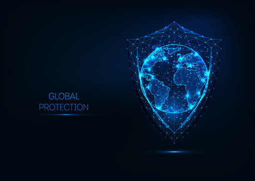 Futuristic glowing low polygonal shield and planet earth globe map isolated on dark blue background.