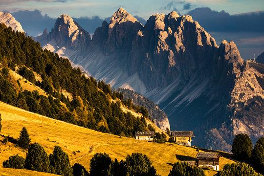 White peaks in Dolomite Mountains