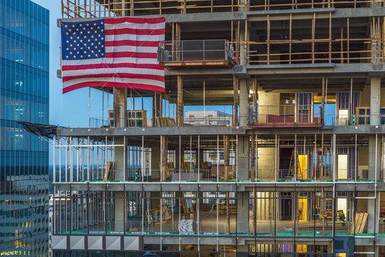 Construction Site, American Flag, Atlanta, Georgia