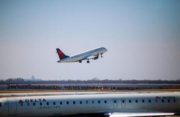DELTA Airlines jet takes off at John F. Kennedy International Airport