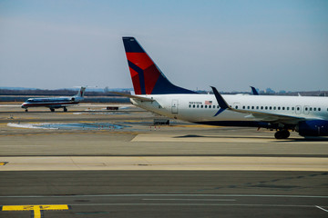 FEB 14, 2019 JFK NEW YORK, USA: DELTA aircraft at the John F. Kennedy International Airport. It is the international air passenger gateway in the United States