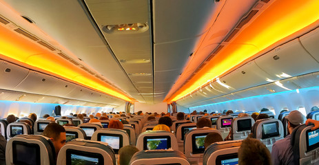 FEB 14, 2019 JFK NEW YORK, USA: armchairs in a built-in chairs Aircraft Cabin Economy class