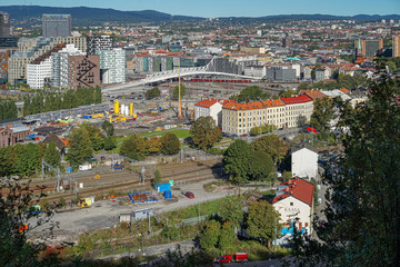 "Panorama view of central Oslo with  the Barcode Project and railway station from Utsikten, Ekebergparken Sculpture Park,  Norway. The painting ""The Scream"" by Edvard Munch is painted from this place."