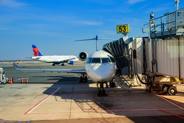 FEB 14, 2019 JFK NEW YORK, USA: Aircraft ready for boarding DELTA aircraft at the John F. Kennedy International Airport