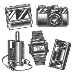 Original monochrome vector retro set of illustrations in the style of the 80s and 90s.