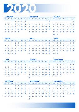 Blue 2020 English calendar. Printable portrait version