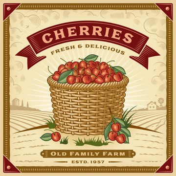 Retro cherry harvest label with landscape. Editable EPS10 vector illustration with clipping mask and transparency in woodcut style.