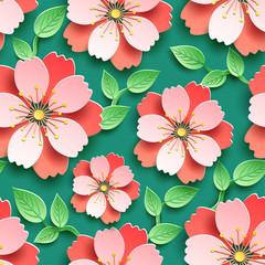 Bright seamless pattern with 3d sakura blossom